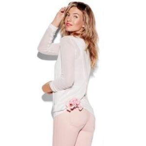 Cabi White Crochet Split Back Pullover Top